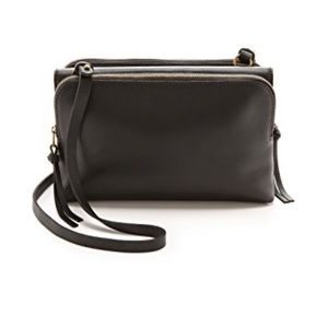 Madewell Twin Pouch Crossbody Bag (Black + Gold)
